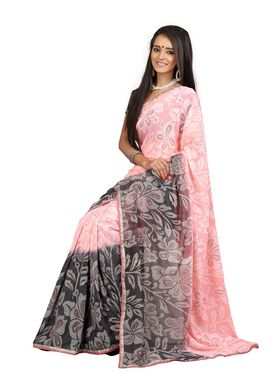 Khushali Fashion Chiffon Saree(Light Peach,Grey)_YNADS20121