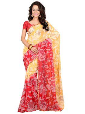 Khushali Fashion Chiffon Saree(Red,Yellow)_YNADS20122