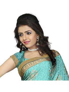 Khushali Fashion Silk Crepe Jacquard Saree(Turquoise,Beige)_YNCHN20540