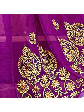 Khushali Fashion Embroidered Chiffon Half & Half Saree_KF78