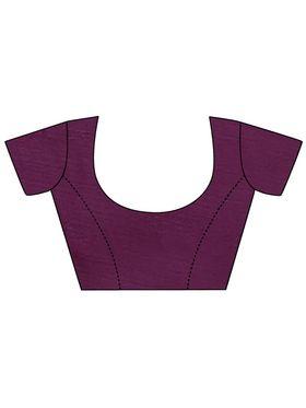 Zoom Fabrics Plain Cotton Silk Violet & Gold Saree -Zm4017D
