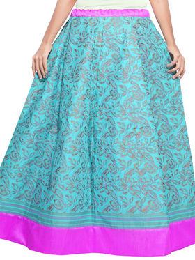 Blue Cotton Block Print Skirt_AY-SKI-RG7-652