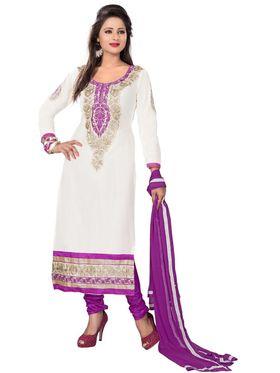 Khushali Fashion Cotton Embroidered Dress Material - White - MN21006