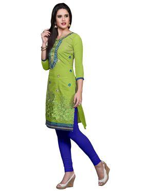 Khushali Fashion Cotton Embroidered Dress Material - Parrot Green - PARI41006