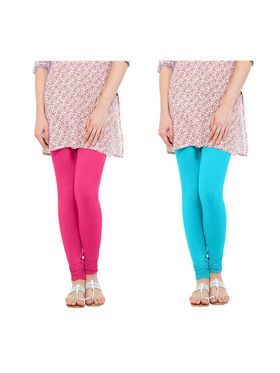 Pack of 2 Oh Fish Solid Cotton Stretchable Leggings -zwe28