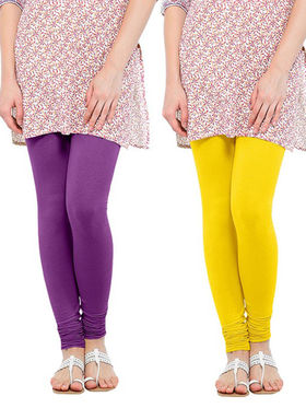 Pack of 2 Oh Fish Solid Pure Cotton Stretchable Leggings -zwe39