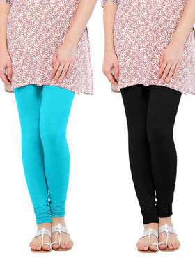 Pack of 2 Oh Fish Solid Cotton Stretchable Leggings -zwe41