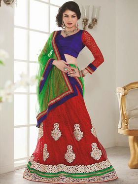 Orchid Net Embroidered Lahenga Choli - Red
