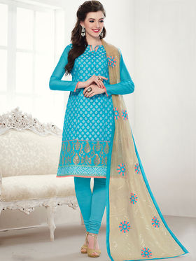 Viva N Diva Chanderi Jacqaurd Embroidered Dress Material - Blue - Color-Blossom-1002