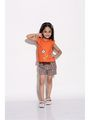 ShopperTree Yarn dyed check Check Girls Top With Short - Orange Above 4 Year
