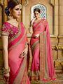 Viva N Diva Embroidered Chiffon Pink Saree -19479-Rukmini-04