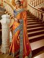 Viva N Diva Embroidered Satin Georgette Orange Saree -19483-Rukmini-04