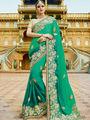 Viva N Diva Embroidered Georgette Green Saree -19486-Rukmini-04