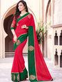 Indian Women Embroidered Georgette Red Designer Saree -GA20365
