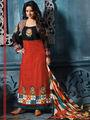 Adah Fashions Cotton Embroidered A-Line Salwar Suit - Orange & Black - 667-14001