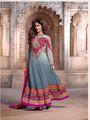 Adah Fashions Georgette Semi Stiched Salwar Kameez - Grey - 510-7608