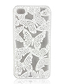 Case-Gear Laser Butterfly Cut On White Back Cover for iPhone 4 and 4S