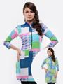 Lavennder Georgette-Crape Reversible kurti - Multicolor-R-032
