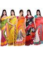 Combo of 5 ISHIN Bhagalpuri Silk Printed Saree-Combo-185