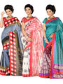 Combo of 3 Ishin Art Silk Printed Saree - Combo-399