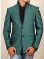 Runako Solid Regular Full sleeves Semi Formal Blazer For Men - Green