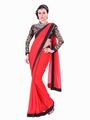 Silkbazar Embroidered Georgette Saree - Red