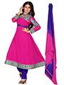 Silkbazar Embrodried A - Line Cotton Semi Stiched Dress Material - Fuchsia