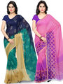 Combo of 2 Triveni Printed Faux Georgette Green Sarees -Tsco107