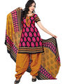 Triveni Blended Cotton Printed Dress Material - Black - TSSDHSK1106